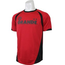 画像1: GRANDE クロスカット ベーシックプラクティスシャツ レッド/ブラック
