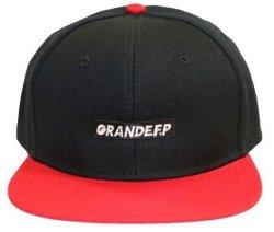 画像2: GRANDE.F.P 刺繍フラットバイザーキャップ ブラック×レッド